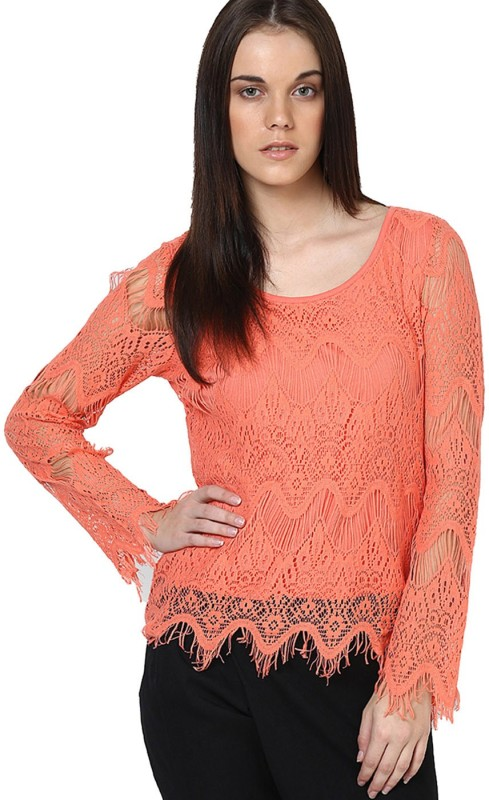 Only Casual Full Sleeve Self Design Women Orange Top
