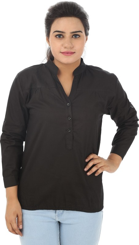 TeeMoods Casual Full Sleeve Solid Women Black Top
