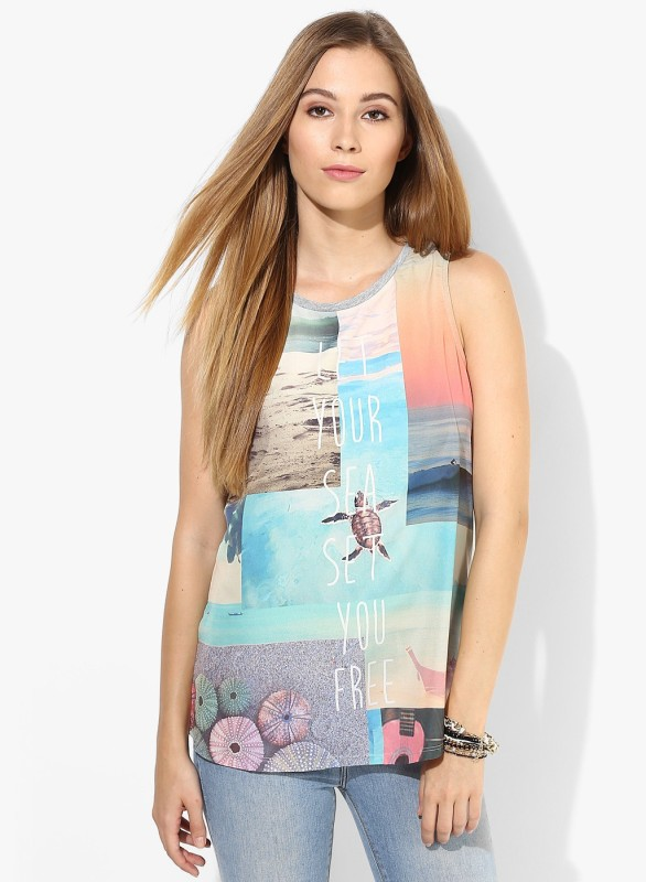 Only Casual Sleeveless Graphic Print Women Multicolor Top