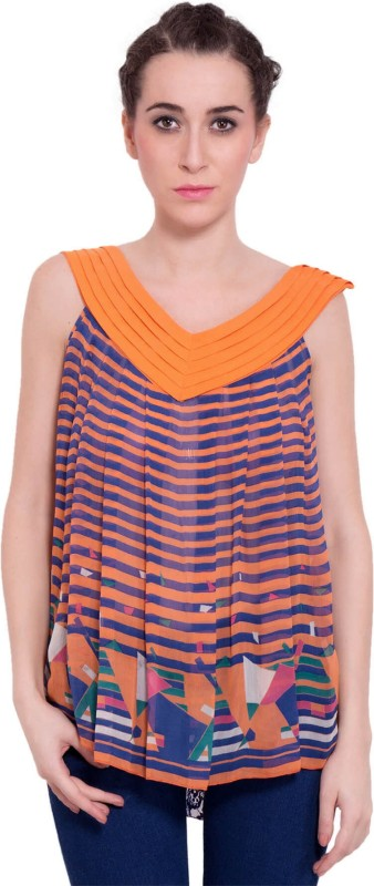 9teenAGAIN Casual Sleeveless Printed Women's Orange Top
