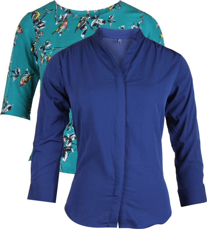 Vvoguish Casual 3/4 Sleeve Solid Women Multicolor, Blue Top