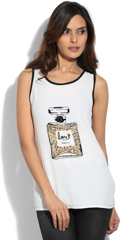 Van Heusen Casual Sleeveless Printed Womens White, Black Top