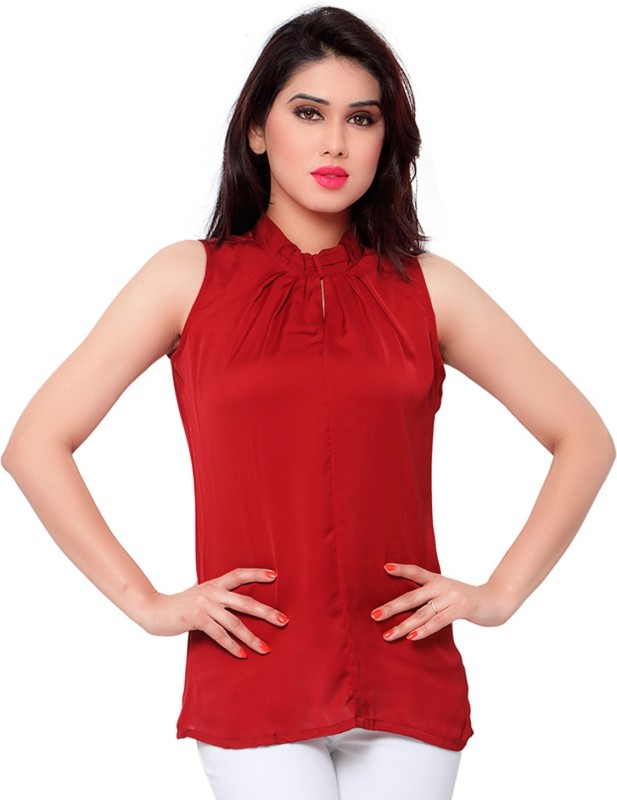Admyrin Casual Sleeveless Solid Women's Red Top