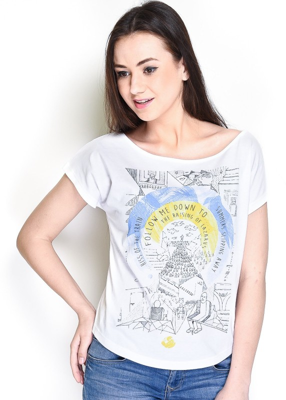 The Glu Affair Casual Short Sleeve Printed Women's White Top