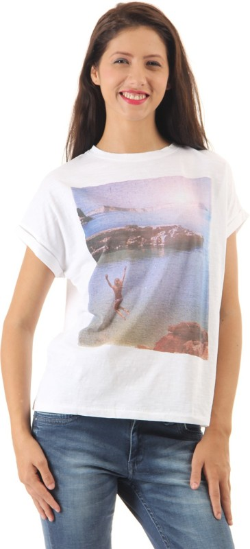 Pepe Jeans Casual Short Sleeve Solid Women White Top