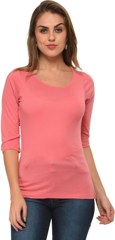 Frenchtrendz Casual 3/4 Sleeve Solid Women Pink Top