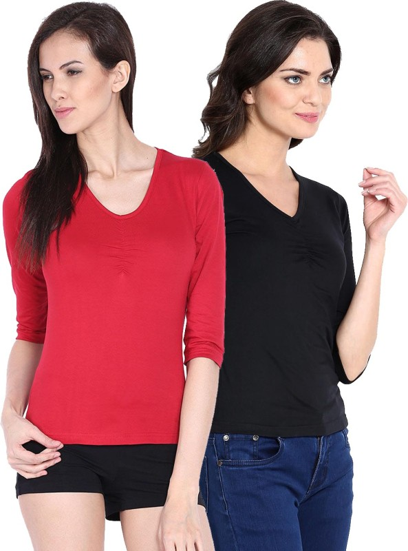 Espresso Casual Regular Sleeve Solid Women Red, Black Top