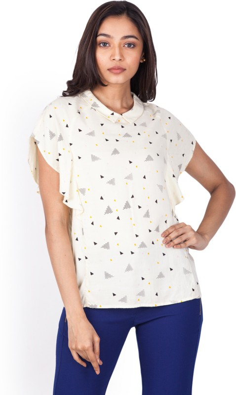Zink London Casual Butterfly Sleeve Printed Women's White Top