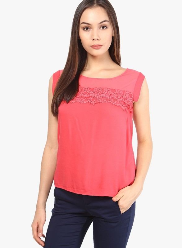 Vero Moda Casual Short Sleeve Solid Women Black Top