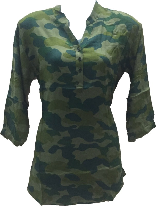 Dovekie Casual 3/4 Sleeve Printed Women Green, Blue Top
