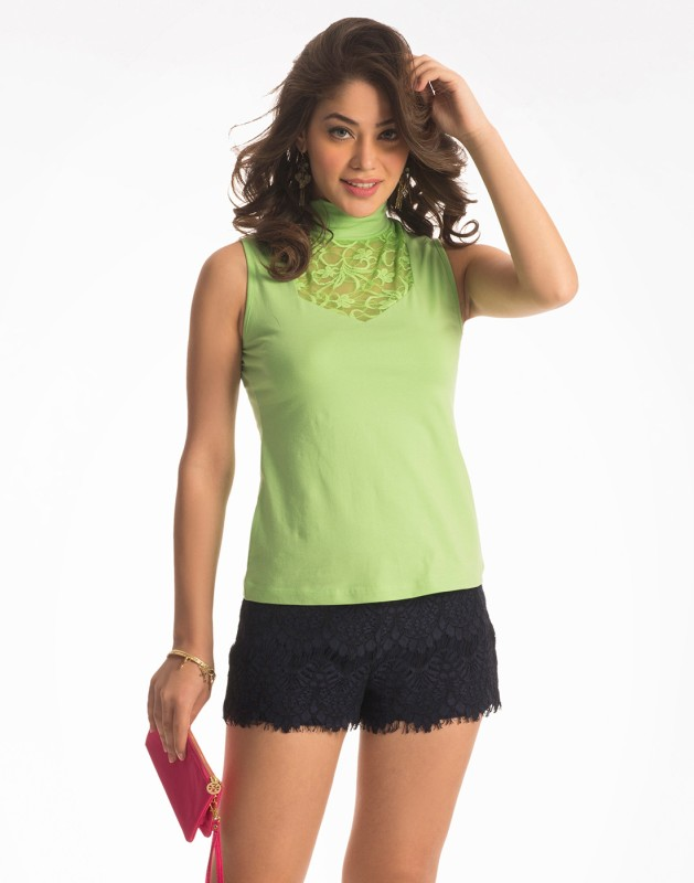 PrettySecrets Casual Sleeveless Solid Women Green Top