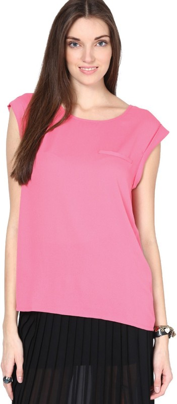 Only Casual Cap Sleeve Solid Women Pink Top