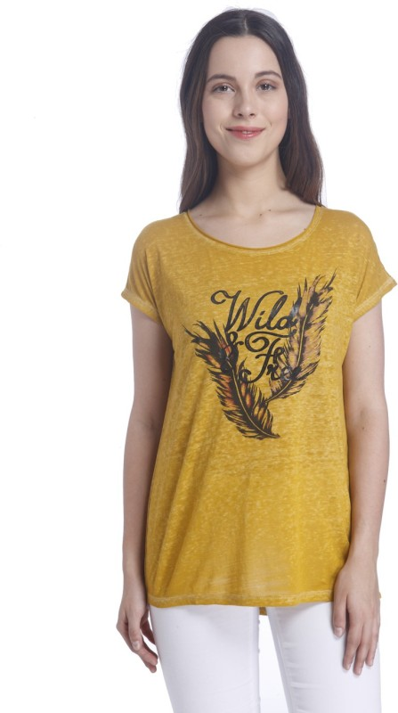 Vero Moda Casual Short Sleeve Graphic Print Women Gold Top