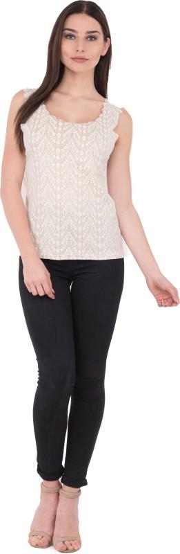 DELIBOY Casual Sleeveless Self Design Women's White Top