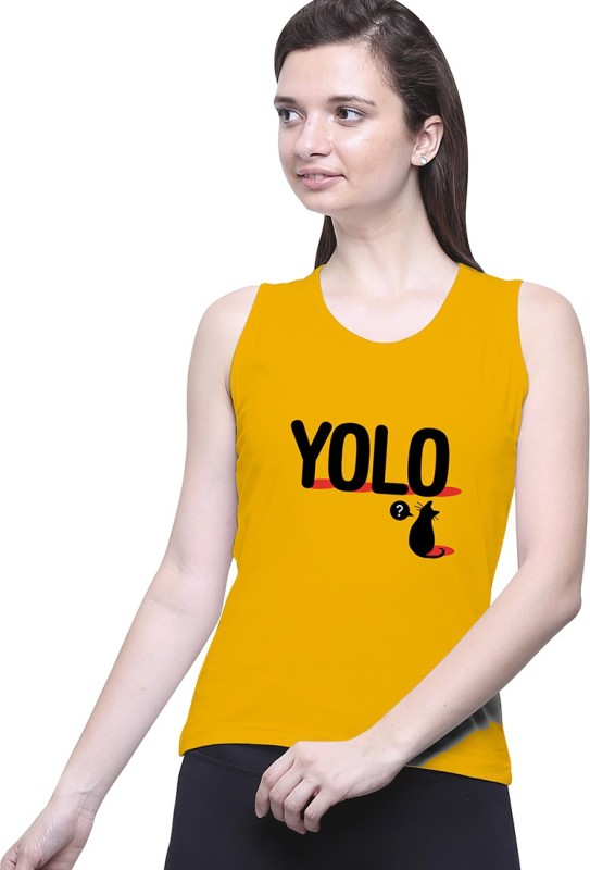 Uptown18 Casual Sleeveless Printed Women's Yellow Top