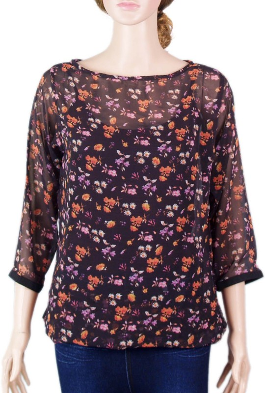 VR Designers Casual 3/4 Sleeve Floral Print Women Multicolor Top