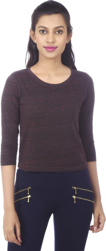 Karney Casual 3/4 Sleeve Solid Women Maroon Top