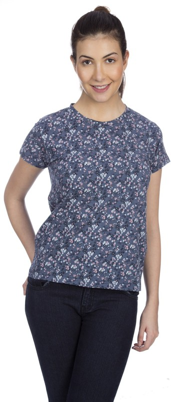 Karney Casual Short Sleeve Printed Women Blue Top