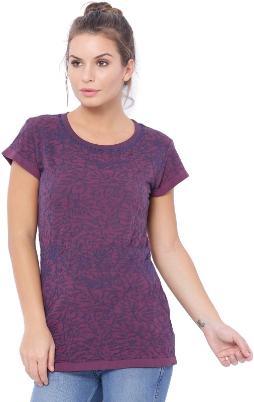 C9 Casual Short Sleeve Printed Women Purple Top