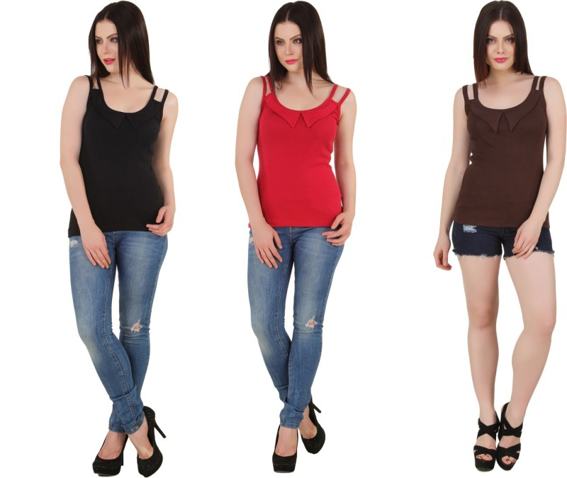 Yati Casual Sleeveless Solid Women's Black, Brown, Red Top