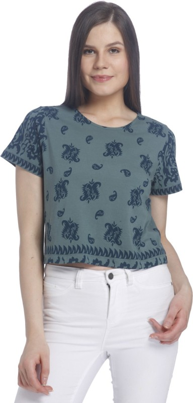 Vero Moda Casual Half Sleeve Paisley Women Blue Top