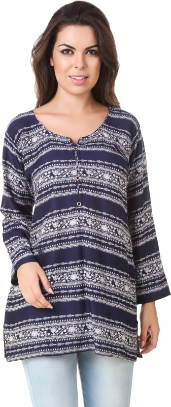ASH Casual 3/4 Sleeve Printed Women Blue Top