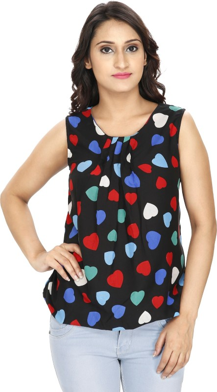 2 Day Casual Sleeveless Graphic Print Women Multicolor Top