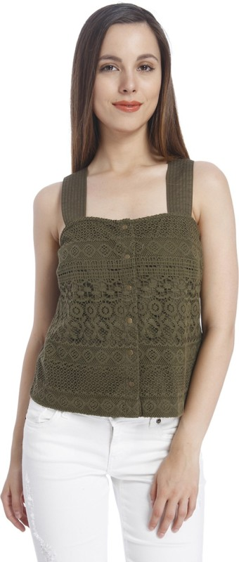 Vero Moda Casual Sleeveless Lace Women Dark Green Top