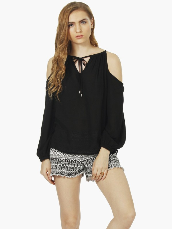 63b9038fe42 FabAlley Casual Cold Shoulder Solid Women s Black Top