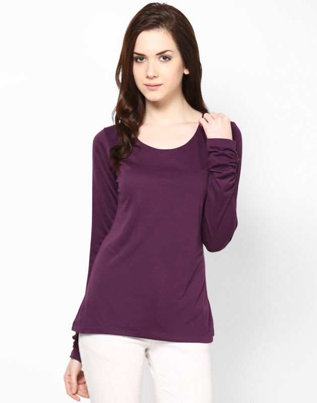Kaxiaa Casual Full Sleeve Solid Women's Purple Top
