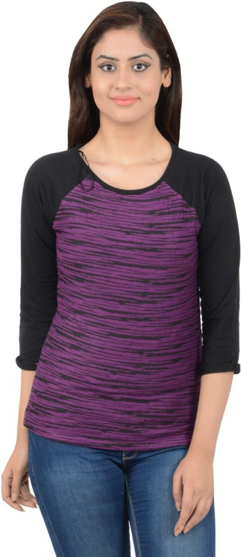 Merch21 Casual 3/4 Sleeve Printed Women Purple, Black Top