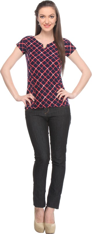 Wearsense Casual Cap Sleeve Checkered Women Blue, Red Top