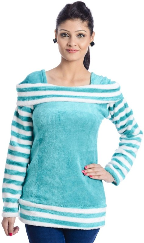TeeMoods Casual Full Sleeve Self Design, Striped Women Green Top