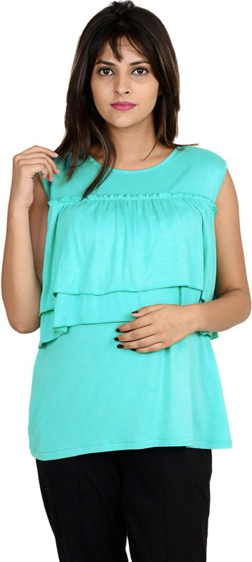 9teenAGAIN Casual Sleeveless Solid Women's Green Top