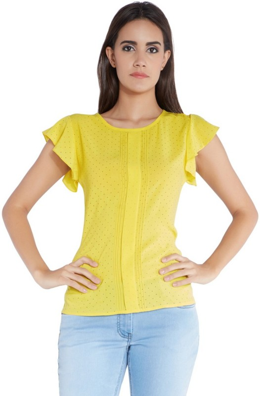 Park Avenue Formal Sleeveless Printed Women Yellow Top