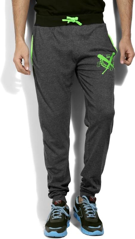 John Players Self Design Mens Black, Grey Track Pants