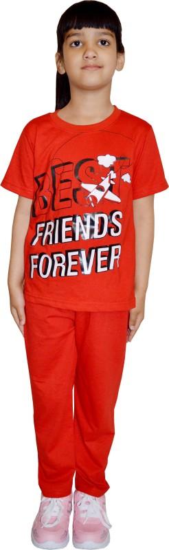 69GAL Kids Nightwear Girls Printed Cotton(Red Pack of 1)