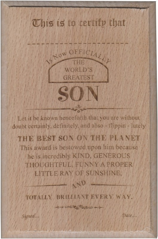 Atpata Funky World'S Best SON Certificate Award Trophy(S)