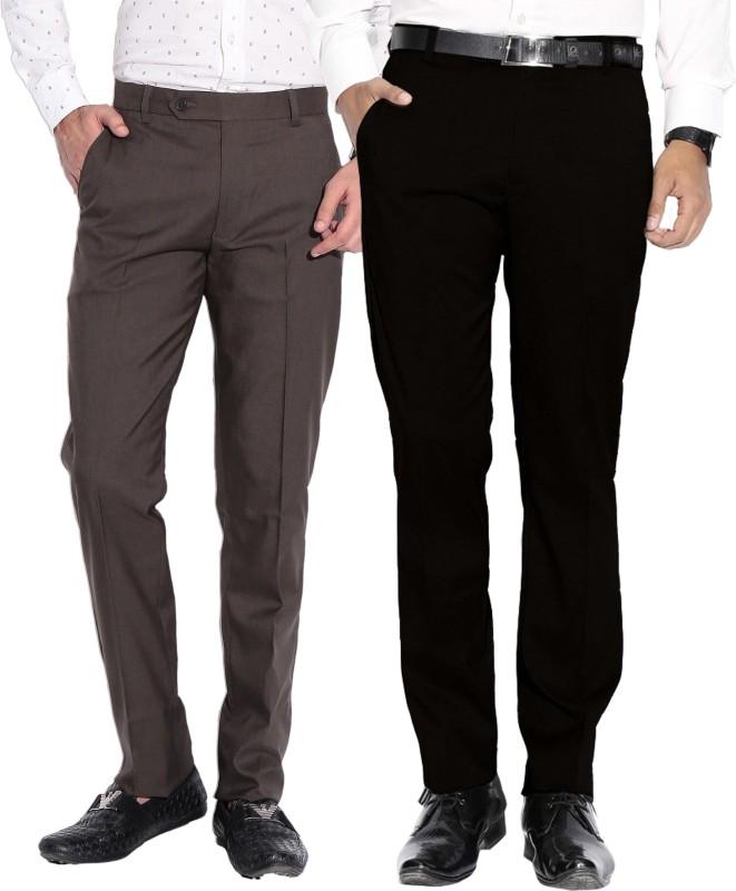 Fizzaro Regular Fit Men's Black, Green Trousers