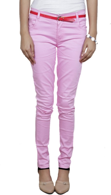 IndiWeaves Slim Fit Women's Pink Trousers