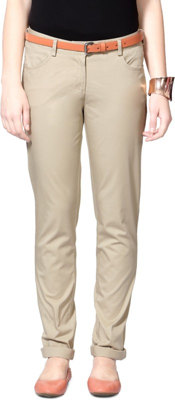 Allen Solly Skinny Fit Womens Beige Trousers