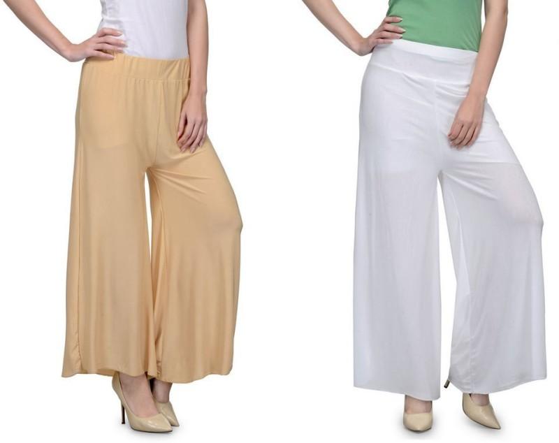 Stop Look Regular Fit Women Beige, White Trousers