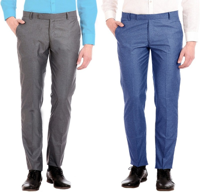 AD & AV Regular Fit Men's Grey, Blue Trousers