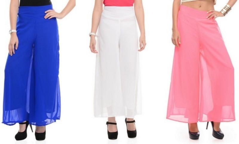 Stop Look Regular Fit Women White, Blue, Beige Trousers