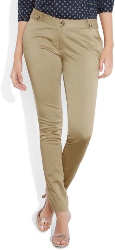 Park Avenue Slim Fit Womens Beige Trousers