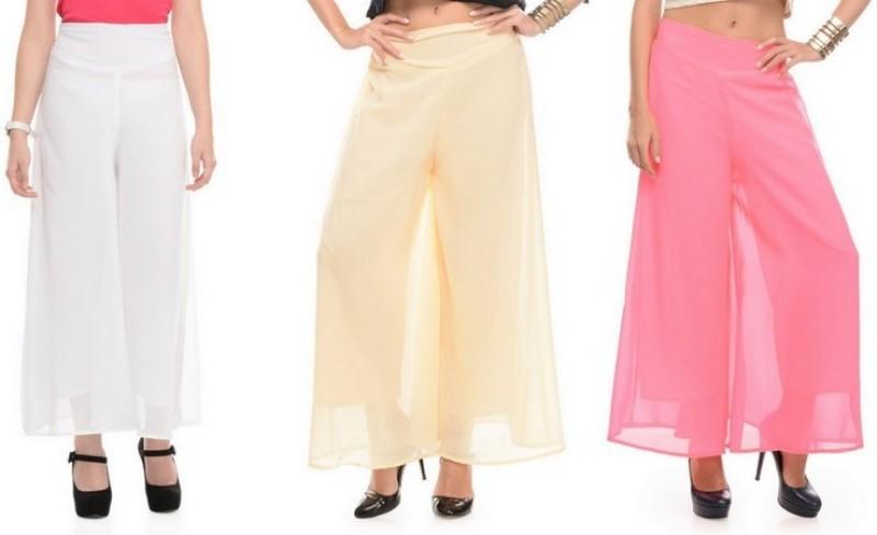 Stop Look Regular Fit Women Pink, Beige, White Trousers