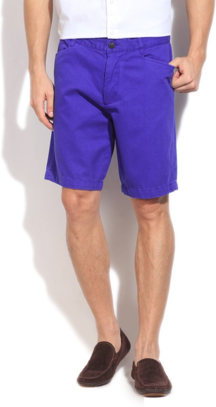 Kenneth Cole Solid Mens Blue Basic Shorts