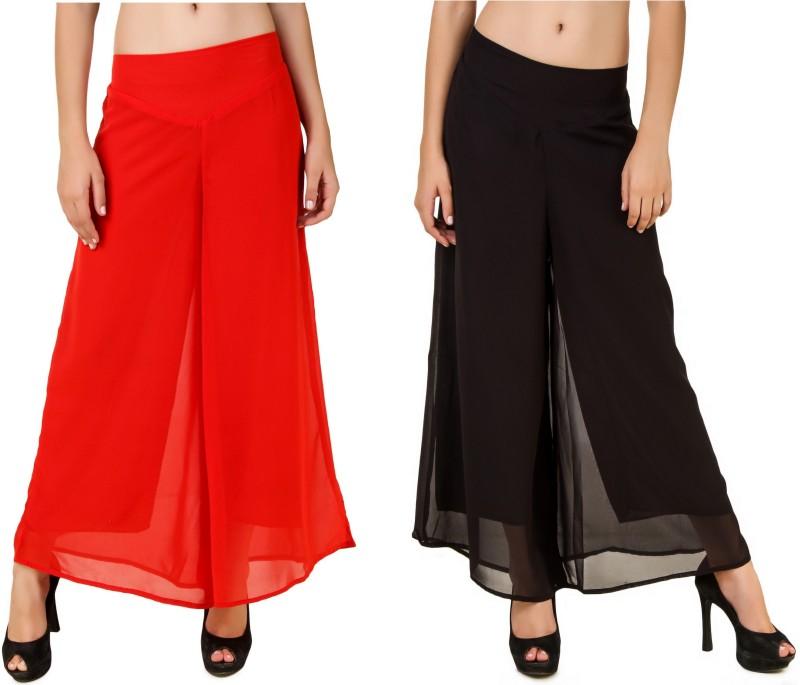 Chik Fab Regular Fit Women's Red, Black Trousers