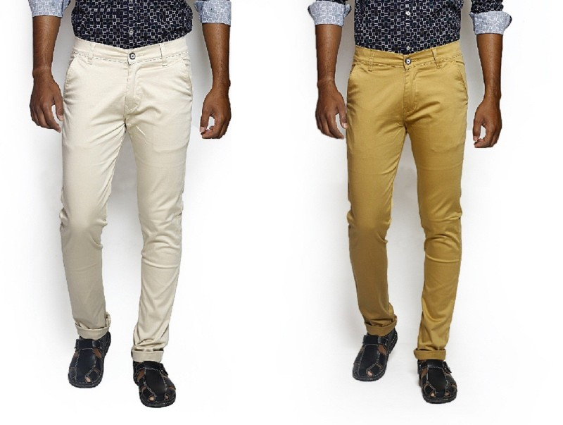 Bdow Fashion Collection Slim Fit Men's Beige, Yellow Trousers