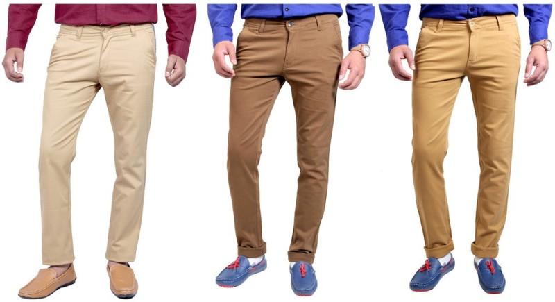 Routeen Slim Fit Men's Multicolor Trousers